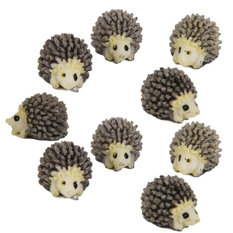 10pcs/pack Miniature Dollhouse Bonsai Fairy Garden Landscape Hedgehog Decor Figurines For Home Decoration Supplies