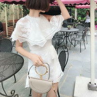 Women Short Sleeve White Embroidery Ruffle White Silk Short Jumpsuit and Playsuit