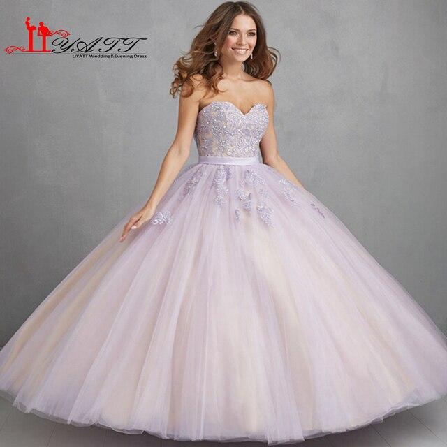 35ecd36c8 2016 Lila Luz Púrpura de Quinceañera Vestidos de Bola Del Amor Appliques  Vestidos de Quinceañera Dulce