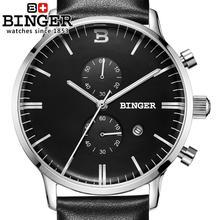 Switzerland men's watch luxury brand Wristwatches BINGER Quartz clock glowwatch leather strap Chronograph Diver B1122-5