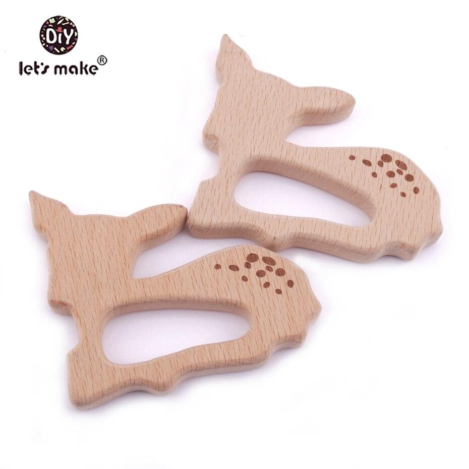 Clever Lassen Sie Machen Buche Holz Beißring 10 Stücke Sika Deer Holz Anpassbare Food Grade Holz Zahnen Roe Bambi Beißring Charme Mangelware