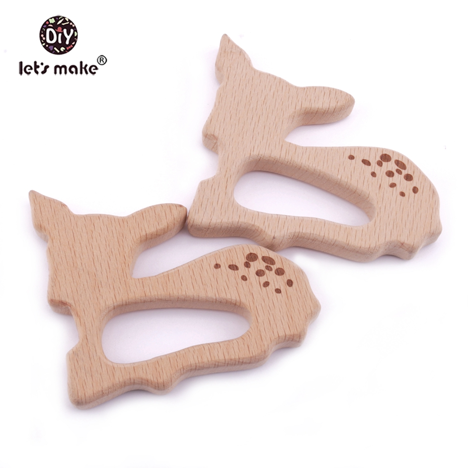 Let's Make Beech Wooden Teether 10pcs Sika Deer Timber Customizable Food Grade Wood Teething Roe Bambi Teether Charms