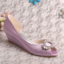 (20 Colors) Lavender Satin Bridal Wedding Shoes Small Wedge Heel Open Toe
