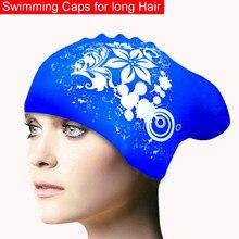 100% boné de natação de silicone para o cabelo longo das mulheres à prova dwaterproof água natação bonés senhoras mergulho capô chapéu para crianças garras natacion casquette