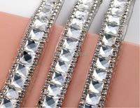 1 yard 8mm kristallen met clear steentjes kant lint tirm bruiloft cake banding naaien diy gsm case