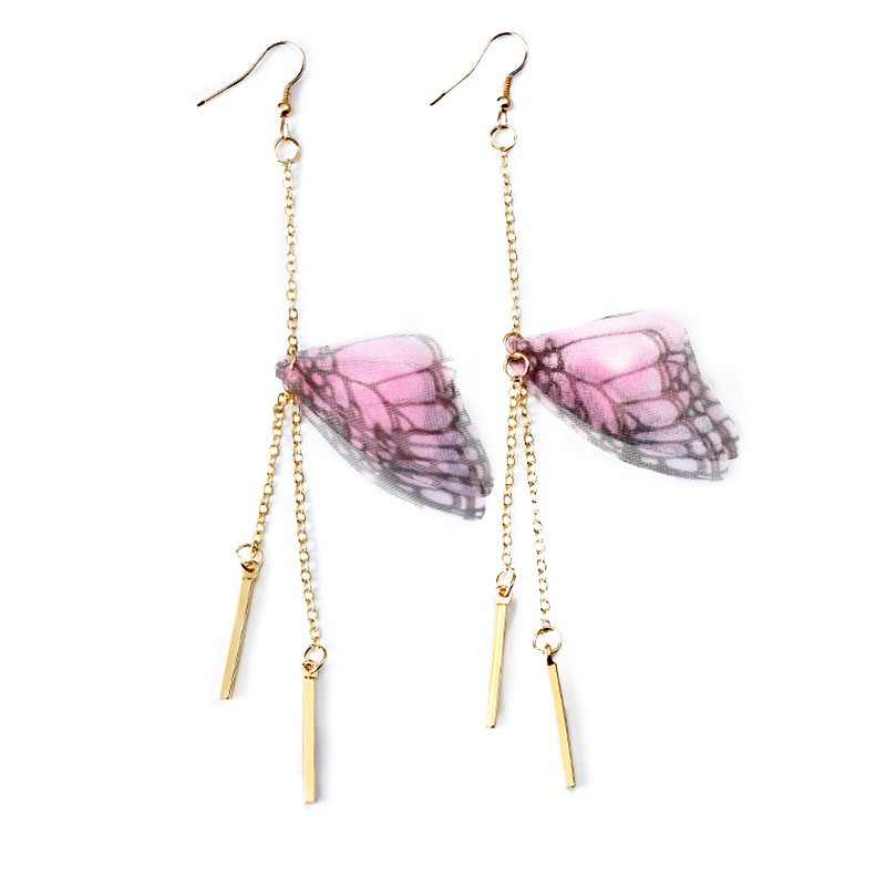 Korean Multiple Butterfly Wings Drop Earrings Asymmetric Imitation Pearl Crystal Long Tassel Earrings For Women Jewelry Gift