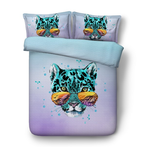 Bedding set Leopard Luxury 3D duvet cover bed sheet sheets linen bedspread Animal print Cal Super King Queen size full twin 4pcs in Bedding Sets from Home Garden