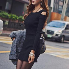 Female Pullover Autumn Winter Black Gray Sweater Dress Sexy Women Long Sleeve Bodycon Sweater Knitted Dress(China)