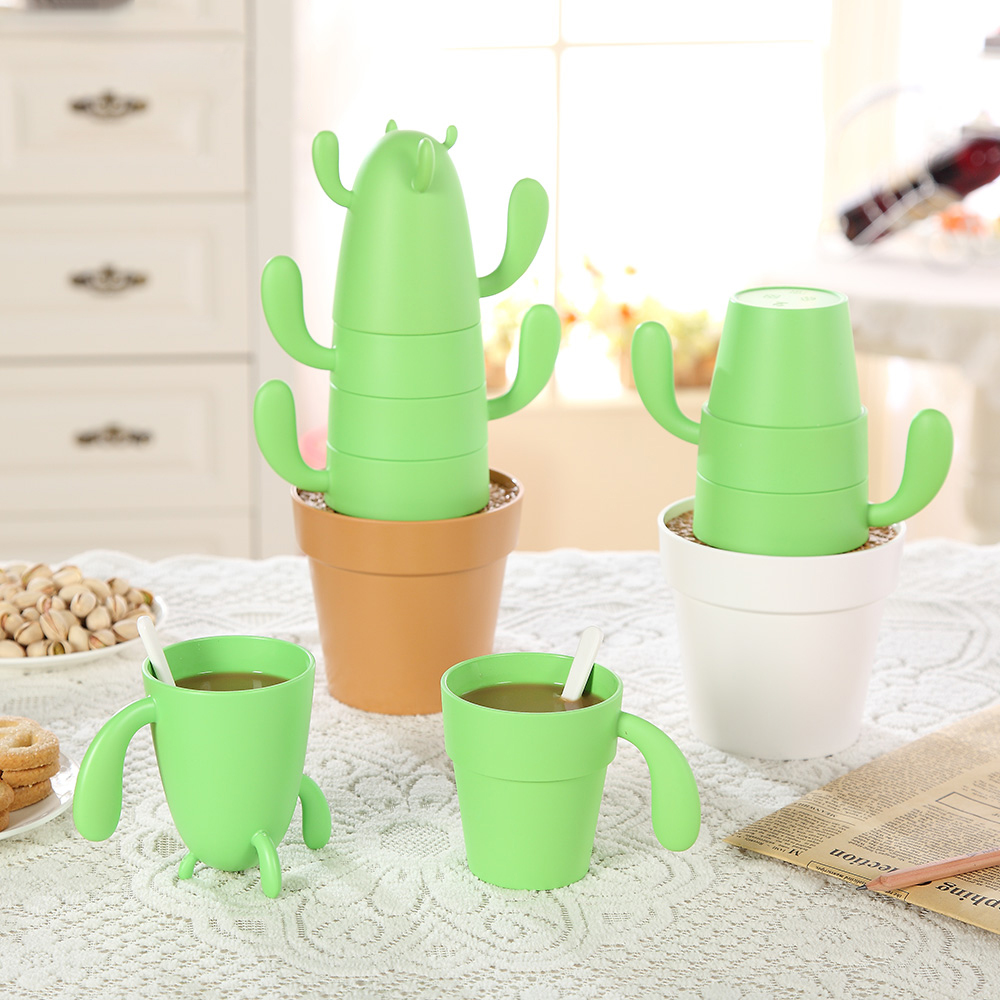 4 ədəd / dəstə Stackable Kaktus Bitki kubokları Qəhvə və ya - Mətbəx, yemək otağı və barı - Fotoqrafiya 2