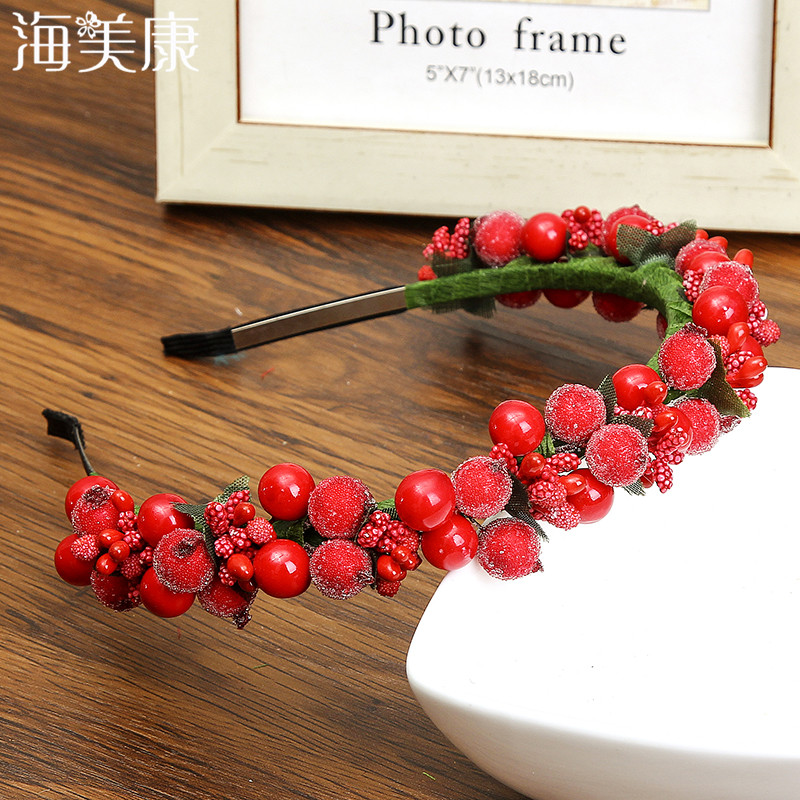 Haimeikang Bezel Glass Beads Rose Flowers Wreath Wedding Bridal Girls Women Fashion Headwear Floral Headband Hair Accessories