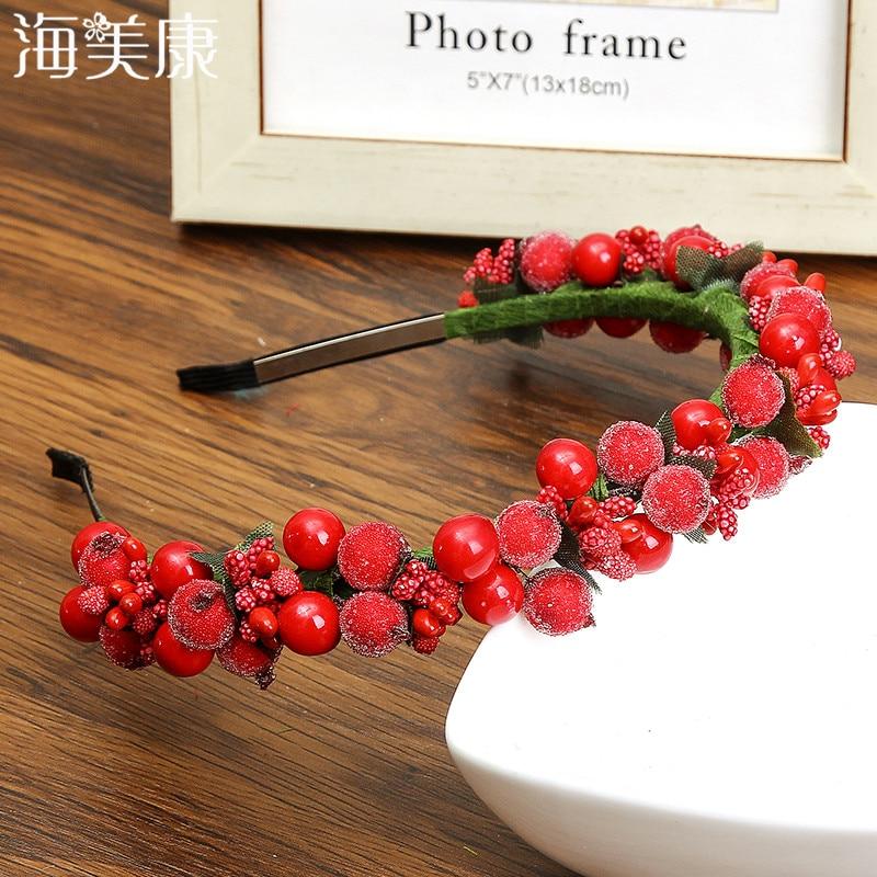 Haimeikang Bezel Glass Beads Rose Flowers Wreath Wedding Bridal Girls Women Fashion   Headwear   Floral Headband Hair Accessories