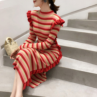 2018 new style of autumn dress fashion side fork fungus long sleeve knitted dress gold silk striped long dresses