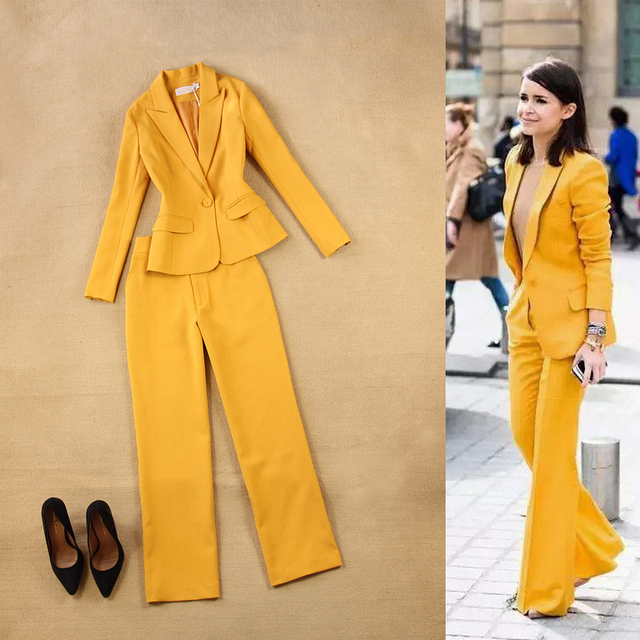 Mulheres de alta Qualidade Conjunto Formal Escritório Ladies Trabalho desgaste uniforme Feminino Pant Ternos de negócio elegante estilo 2 peças calças terno