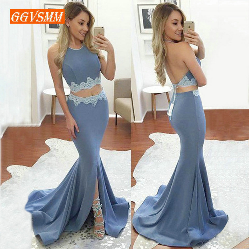 Sexy Blue Mermaid Long   Evening     Dress   2019 Formal Party Gowns Women Halter Neck Elastic Satin Appliques Backless bandage   Dresses