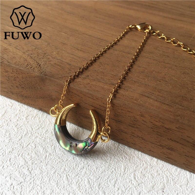 Image 5 - Браслет в виде раковины Abalone FUWO, браслет в форме полумесяца с  золотым наконечником из латуни, модный двойной браслет «Рог»  BR502Цепочки и браслеты