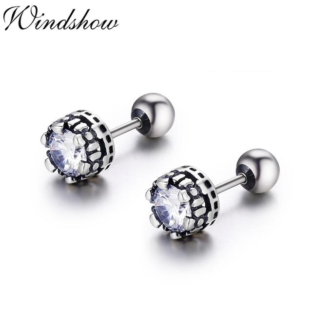 ae67e53a4 Vintage Retro Black 925 Sterling Silver Round CZ Screw Back Stud Earrings  For Women Girls Mens Jewelry Orecchini Aros Aretes