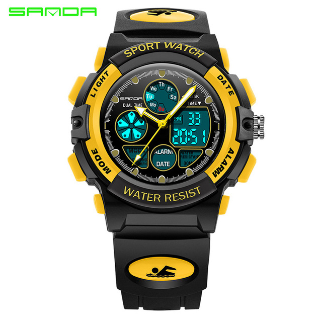 f3fe2245876 2017 Luxo Marca SANDA LED Relógio Digital Militar Relógios À Prova D  Água  Esportes Dos