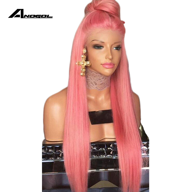 Anogol Glueless Pink Lace Front Wig With Baby Hair Heat Resistant Wig 24 Inch Long Straight