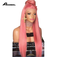 Anogol Glueless Pink Lace Front Wig With Baby Hair Heat Resistant Wig 24 Inch Long Straight Synthetic Wigs For Black Women