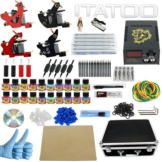 ITATOO Pens Tattoo Kit Cheap Tattoo Machine Set Kit Tattooing Ink Machine Gun Supplies For Jewelry Weapon Professional TK1000003