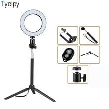 Tycipy кольцо света светодиодный съемка селфи фото Камера видео Настольный мини штатив монопод для селфи Bluetooth затвора USB кор