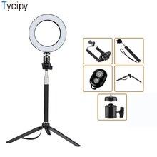 Tycipy кольцо светодиодный съемка селфи свет фото камера видео Настольный мини штатив палка для селфи Bluetooth затвора USB Cor