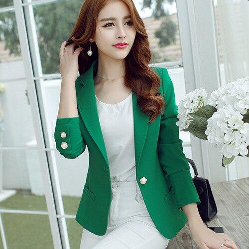J41416 2018 Мода Новое поступление Для женщин блейзер и куртка Зеленый черного, желтого цвета 3 вида цветов корейский стиль элегантные офисные ко