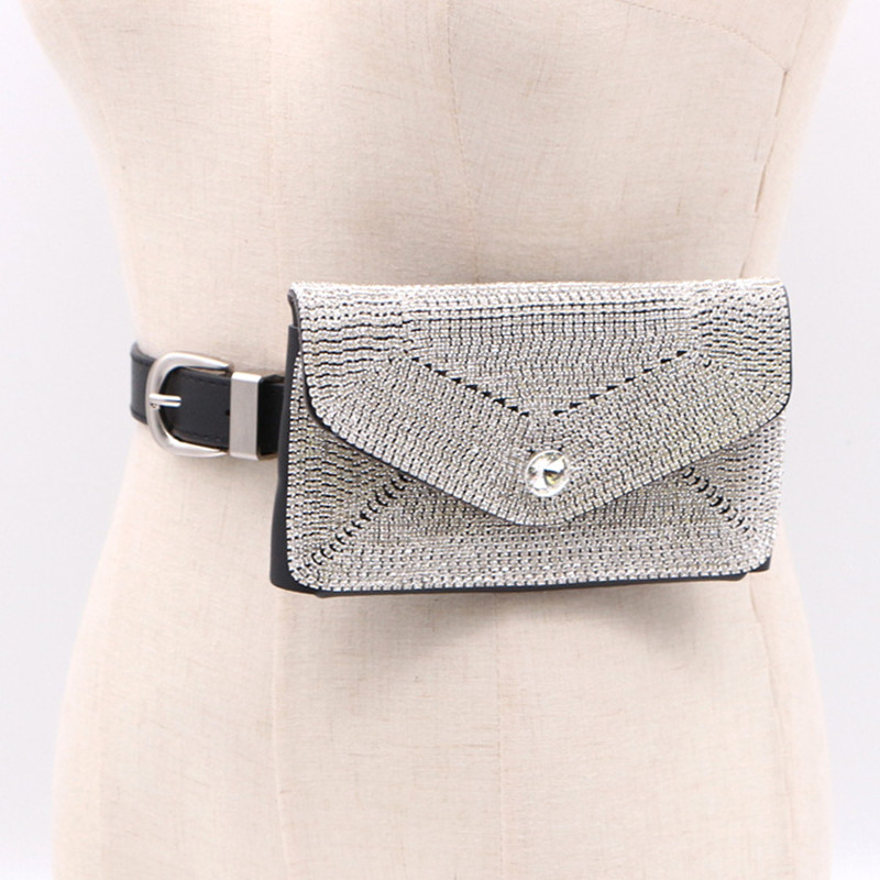 2019 Women Fashion Novelty PU Leather Belt 100% Handmade Full Crystal Waist Bag Belt Punk Hiphop Stylish Belt Girlfriend Gift