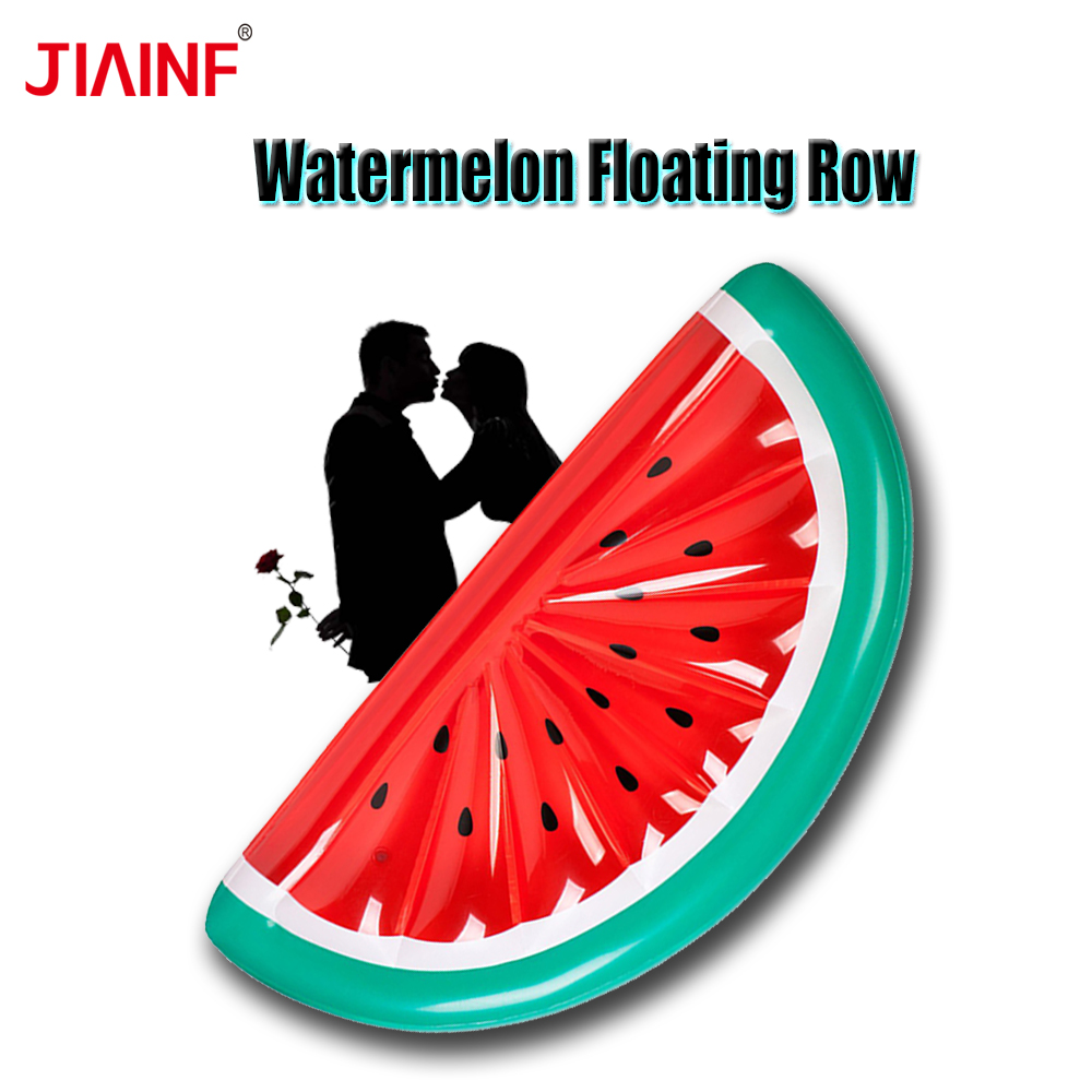 JIAINF 2018 New Style Beach Party Giant Inflatable Half Watermelon Floating Row Family Pool Party Big Floating Bed Toys