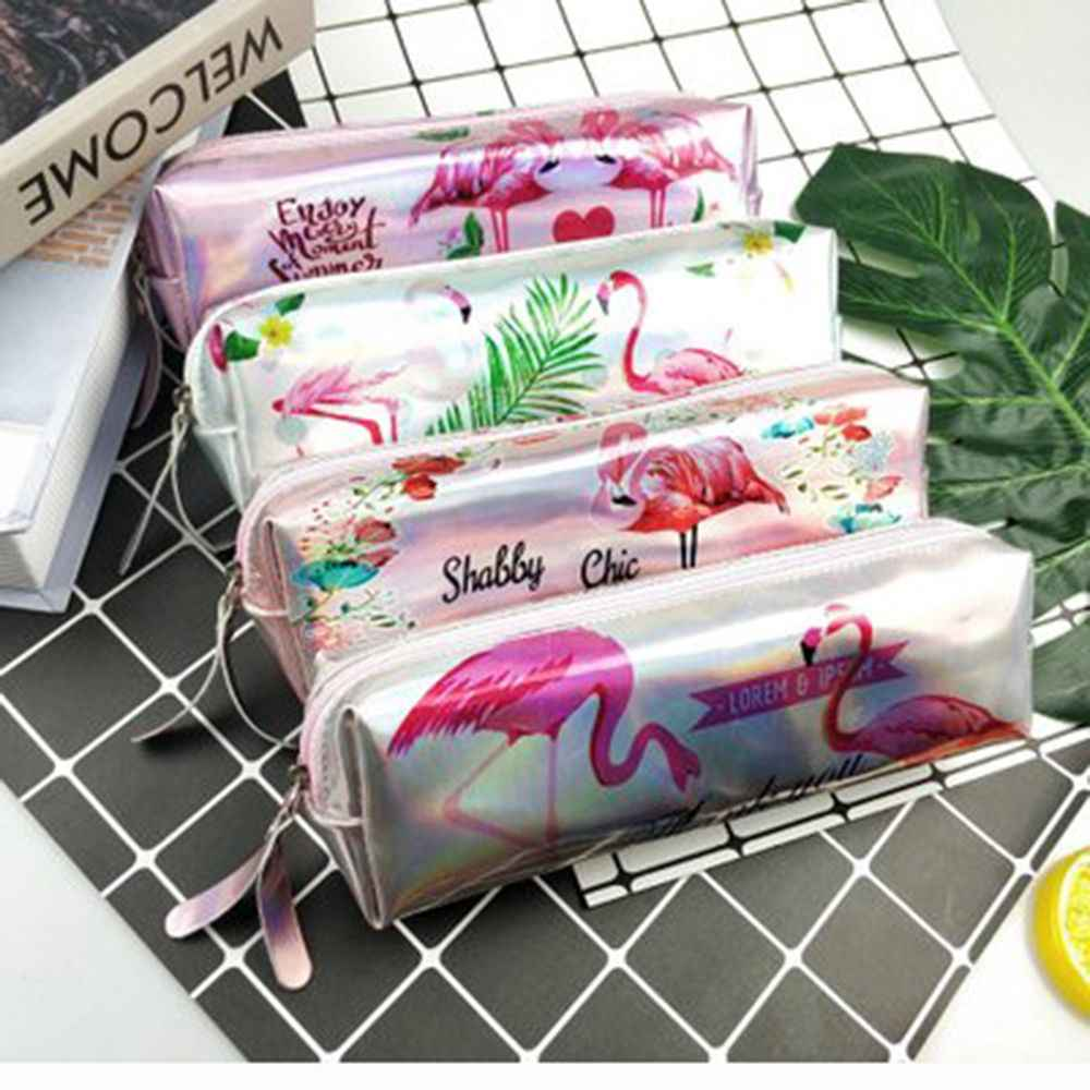 1pcs Kawaii Pencil Case Iridescent Laser Cute Beautiful Alpaca Flamingo Pattern School Supplies Stationery Gift Award for kids