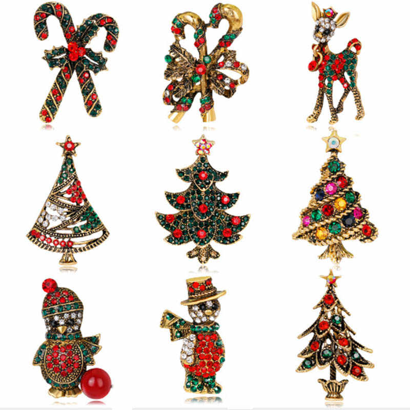dropshipping Stylish Brooches Christmas Jewelry Xmas Tree Deer Snowman Brooch Party Brooch Pin