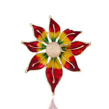 Gold Flower Brooches For Women Accessories Drip Oil Broche Hijab Pins Plant New Brooch Metal Bouquet