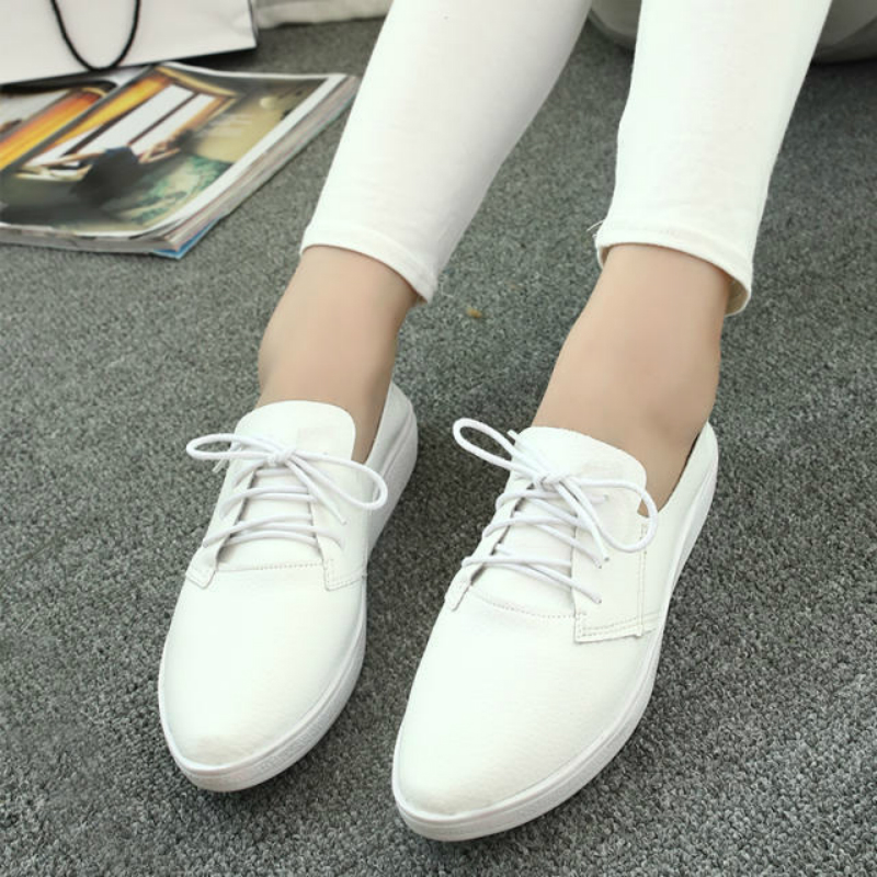 Sneaker White Flats Women Fashion Shoes Canvas Daily Wear Fitness Casual Shoes Lace Up Soft Comfortable Low Heel Black Silver