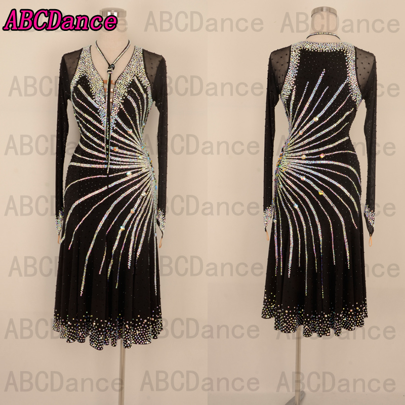 Latin Dance Dress Ballroom Dancing Latin Dress Chacha Dancewear Costume  Lady Rumba Dance Dress Samba Competition Black