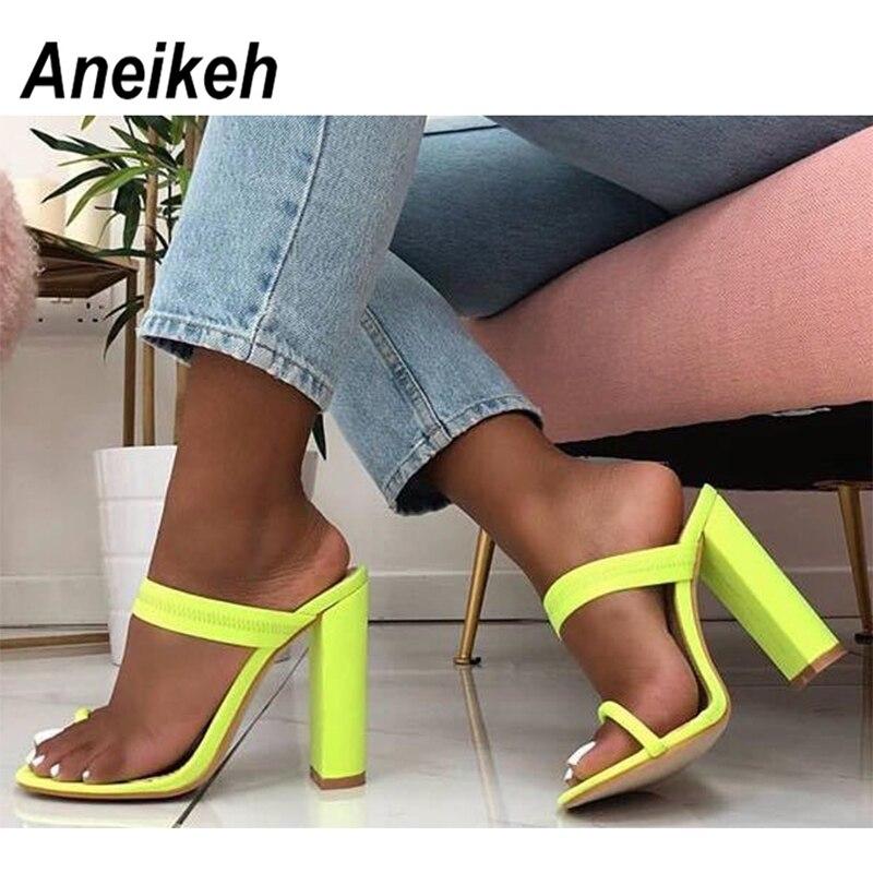 Aneikeh 2019 New Summer Sandals Slippers Thin High Heels Sandals Flip Flop Buckle Hollow Women Shoes Sexy Slippers Pumps Green
