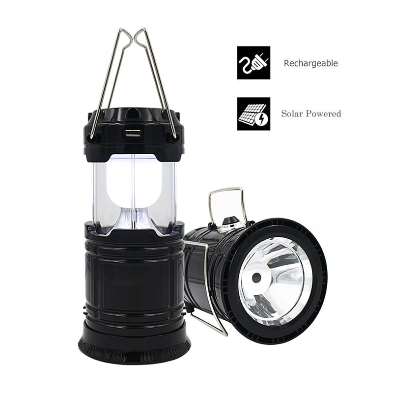 Solar Powered Rechargeable Portable Camping Lantern Collapsible Flashlight Tent Torch Light Outdoor Lighting For Hiking Fishing