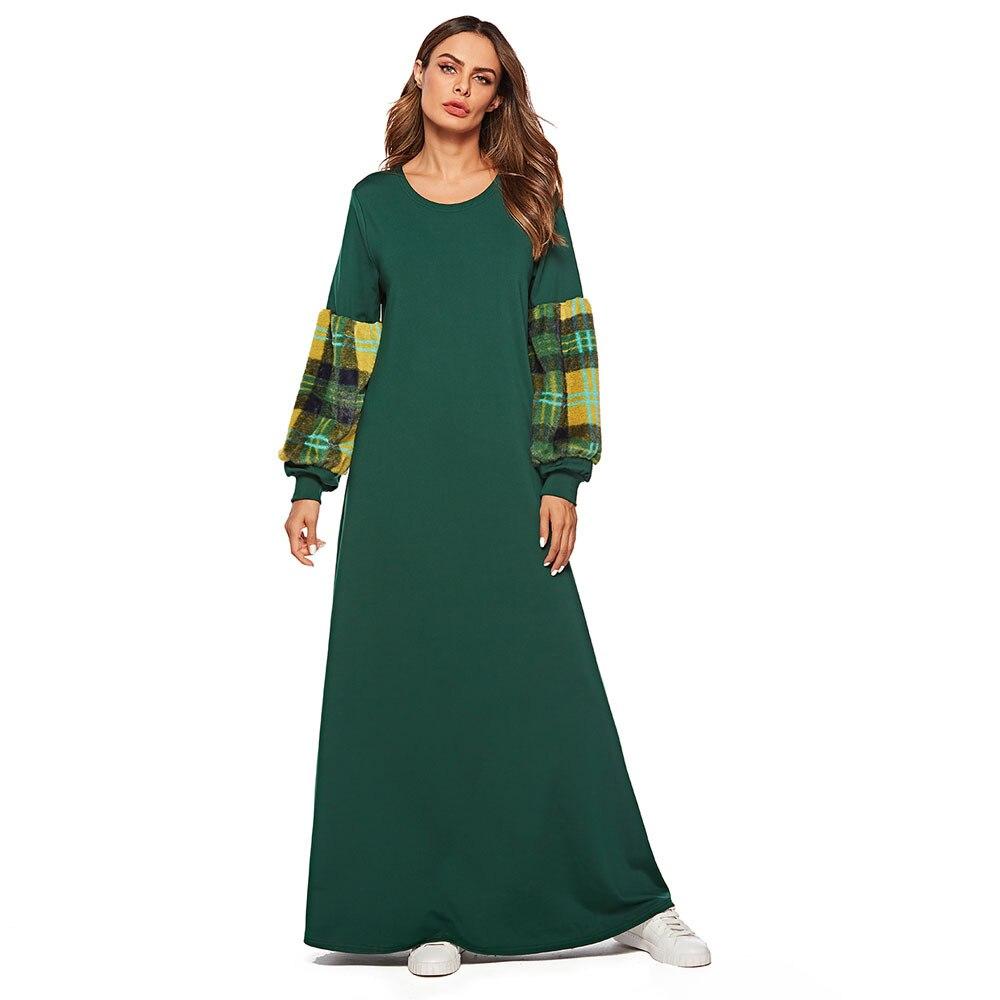 187471 Musulman jupe laine manches tricots couleur longues robes turquie robe Kuftan arabe robe de soirée Vestido Tradicional Musulman