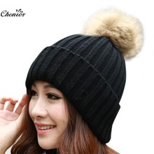 Brand 2016 Women Casual Autumn Winter Hats Beanie Knitted Cap Crochet Rabbit Fur Protect Hats For