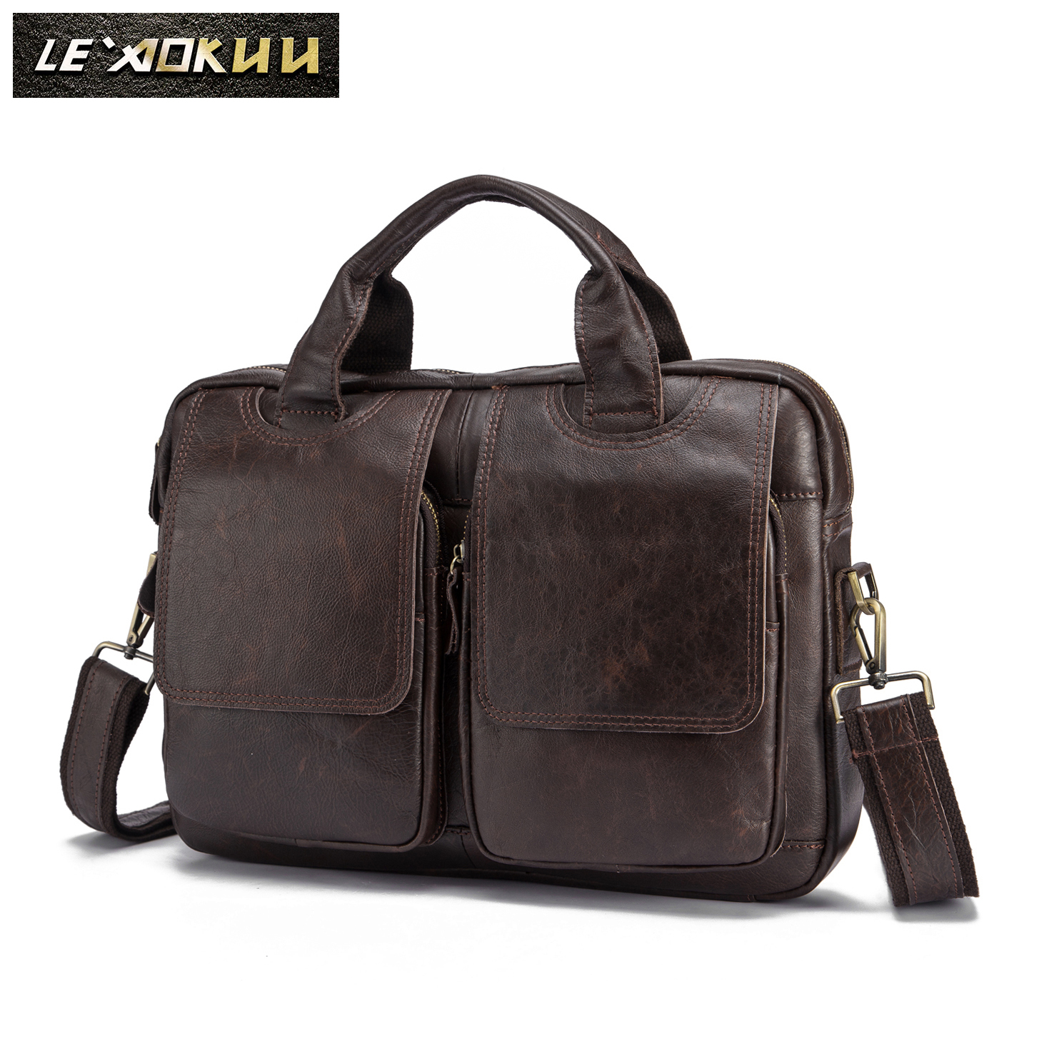 Oil Waxy Leather Coffee Design Business Briefcase 14