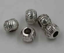 Hot ! 10 pcs Antiqued Silver Volleyball Large Hole Beads Fit European Charms Bracelet 9.5mm*10mm nm68