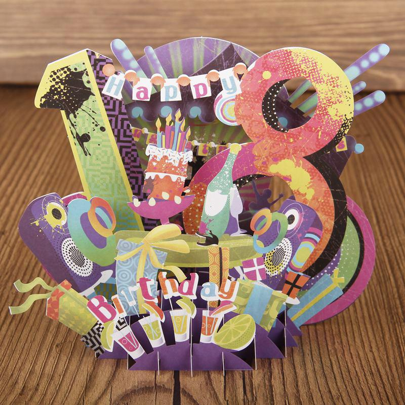 18 Years Old Birthday Handmade Post Card For Happy 3D Pop Up Greeting Cards Display Of Gift 7007