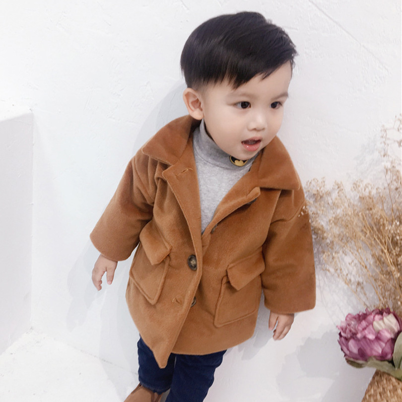 Boys Girls Wool 2018 Winter Coat Kids Thick Outerwear Fashion Kids Woolen Long Jackets Children Warm Coats 2018 winter girls wool coats kids warm fashion lapel long sleeve collar girls clothes woolen coat fit 4 10t