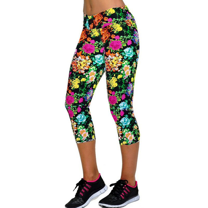 TOIVOTUKSIA New High Elastic Capri Leggings High Waist Flowers Print Plus Size Mid-Calf 3/4 Stretch Women Leggings For Summer