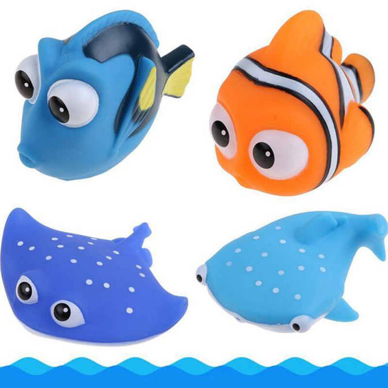 children Baby Bath Toys Squeeze Sounding Debbling Toy Kids Float Water Tub Rubber Bathroom Play Animals beach toys for children