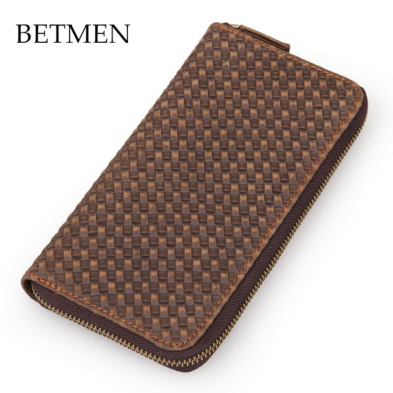 BETMEN Vintage Luxury Genuine Leather Wallet Long Men Wallets Casual Brand Male Clutch Wallet Purse high quality anime bungou stray dogs men travel bags canvas fashion women shoulder messenger sling bags bolsa feminina