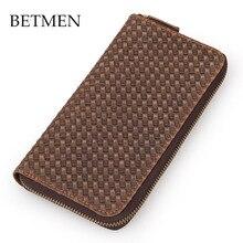 BETMEN Vintage Luxury Genuine Leather Wallet Long Men Wallets Casual Brand Male Clutch Wallet Purse