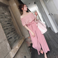 New Fashion High Quality Pink Women's Sets Off Shoulder Blouse Women Chiffon Wide Leg Pants Casual Two Piece Set Tops And Pants