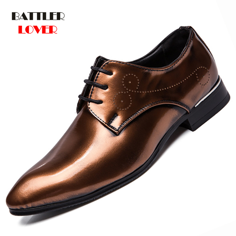 Luxury Man Dress shoes Classic Mens Patent Leather Wedding Shoes Oxford Formal Shoe Brand Casual  Men