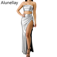 Alunellay Women Sexy Off Shoulder Dress Two Pieces Set High Split Dresses Evening Party Long Maxi