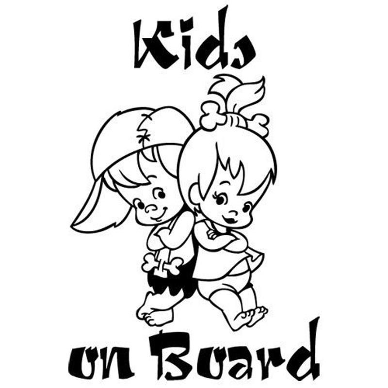 12.7*19CM KIDS ON BOARD Cute Cartoon Warning Car Sticker Window Decoration Vinyl Decal C1-4009